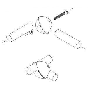 схема сборки джокер / joker R-6DX комплект соединений для 2-х труб, мебельные трубы и комплектующие купить ОПТ и розница, доставка по Украине, вся мебельная фурнитура в интернет магазине Феникс