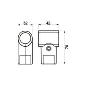 размеры крепления ДЖОКЕР R8 СОЕДИНЕНИЕ ТРУБЫ ТИП Т в интернет маагазине мебельной фурнитуры Феникс, мебельные трубы и комплектующие