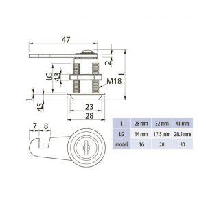 размеры замка почтового хром GTV в интернет магазине мебельной фурнитуры Феникс г. Харьков с доставкой по Украине