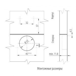 Петля накладная GTV размеры в интернет магазине мебельной фурнитуры Феникс г. Харьков с доставкой по Украине