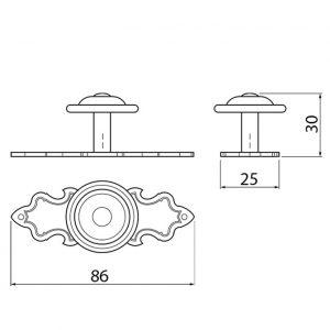 размеры ручки GZ 1136 античная латунь в интернет магазине мебельной фурнитуры Феникс г. Харьков с доставкой по Украине