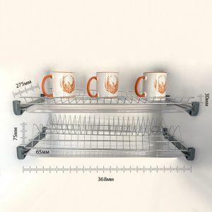 сушилка для посуды из нержавеющей стали в нишу с двумя пластиковыми поддонами 400 мм купить
