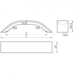 размер ручек UA-337 GTV в интернет магазине мебельной фурнитуры Феникс г. Харьков с доставкой по Украине