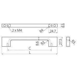 Размеры ручки мебельной UZ-819 в интернет магазине мебельной фурнитуры Феникс г. Харьков с доставкой по Украине