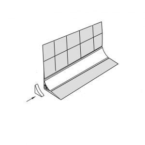 Схематично как используется заглушка на узкий бортик