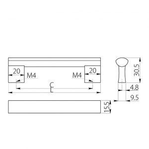 размеры ручка мебельная UA-311В в интернет магазине мебельной фурнитуры Феникс г. Харьков с доставкой по Украине