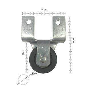 размеры Ролик боковой резиновый d - 40 мм в интернет магазине мебельной фурнитуры Феникс г. Харьков с доставкой по Украине