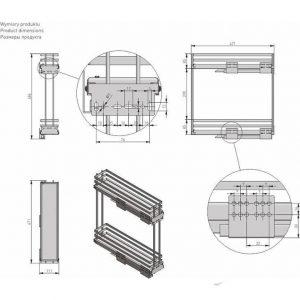 Карго боковое двухуровневое MOVIX PRO 200мм размеры в интернет магазине мебельной фурнитуры Феникс г. Харьков с доставкой по Украине